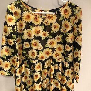FOREVER 21 Sunflower sheer top--baby doll style